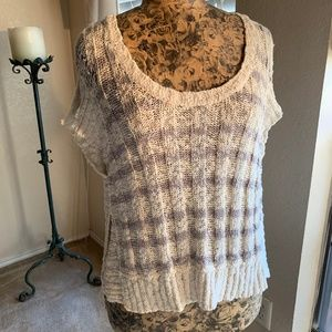 Free People Open Knit Hi Low Sweater || Small